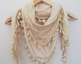 Beige Elegant shawl / scarf / triangle  viscose shawl, Authentic,Trimming,scarves