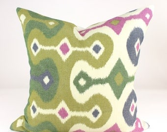 "Schumacher DARYA IKAT Designer Pillow Cover in Jewel, Accent Pillow, Toss Pillow, Decorative Pillow, Throw Pillow  18"", 20"" sq."