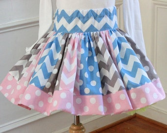 Girls skirt aqua pink gray blue skirt girls chevron skirt  winter skirt holiday clothing skirt outfit set girls toddler christmas