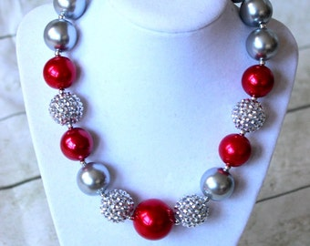 christmas chunky bubblegum necklace silver and red pearl rhinestone toddler girl necklace holiday necklace gurls beaded chunky necklace
