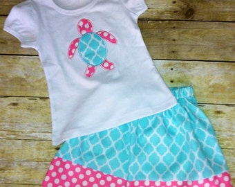 Sz 6 month to 4T applique shirt and skirt