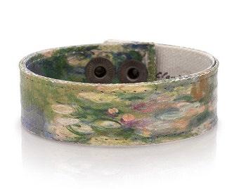 Monet 'Water Lillies' Art Bracelet, Handmade Canvas Womens Bracelet, Wearable Art, Art Teacher Gift, 'The Pool with Water Lillies' 1917-19
