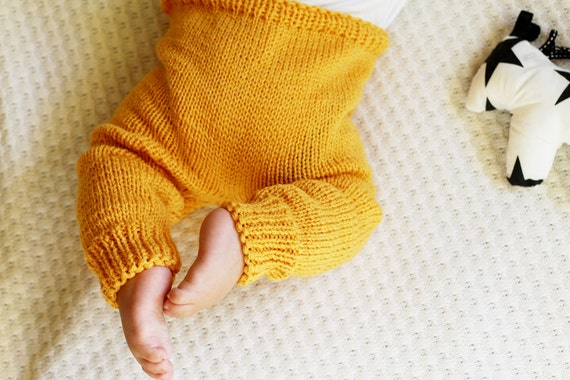 Knit Baby Pants, Hand Knitted Leggings, Baby Trousers