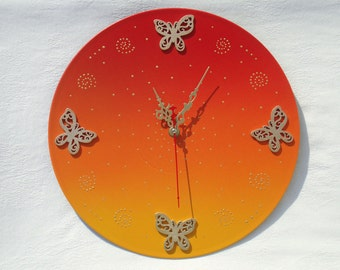 Unique wall clock large wall clocks kitchen clock modern wall clocks orange wall clock kids clock butterfly clock living room decor sunrise