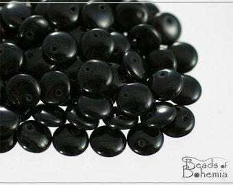 Opaqe Jet Czech Lentil Beads 8 mm, 30 pcs (8310)