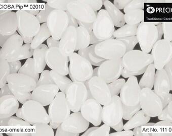60 pcs Alabaster White Preciosa PIP Beads 5x7 mm (8741)