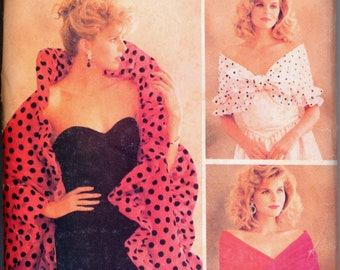 1980s Uncut Shawl Wrap Scarf Shrug Butterick 6982 Vtg Prom Sewing Pattern