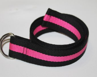 Children's Black and Pink Striped D Ring Belt