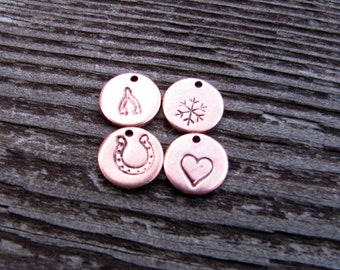 Stamped Copper Charm- Stamped Tag- Open Heart- Paw Print- Wishbone- Horseshoe- Lucky- 9mm- Round- Add On- Symbols- Small- Jewelry Supplies