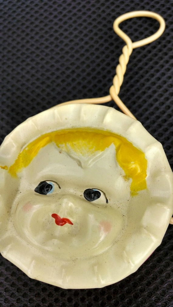 Vintage Pre-war viscoid celluloid baby face rattle from 1930s