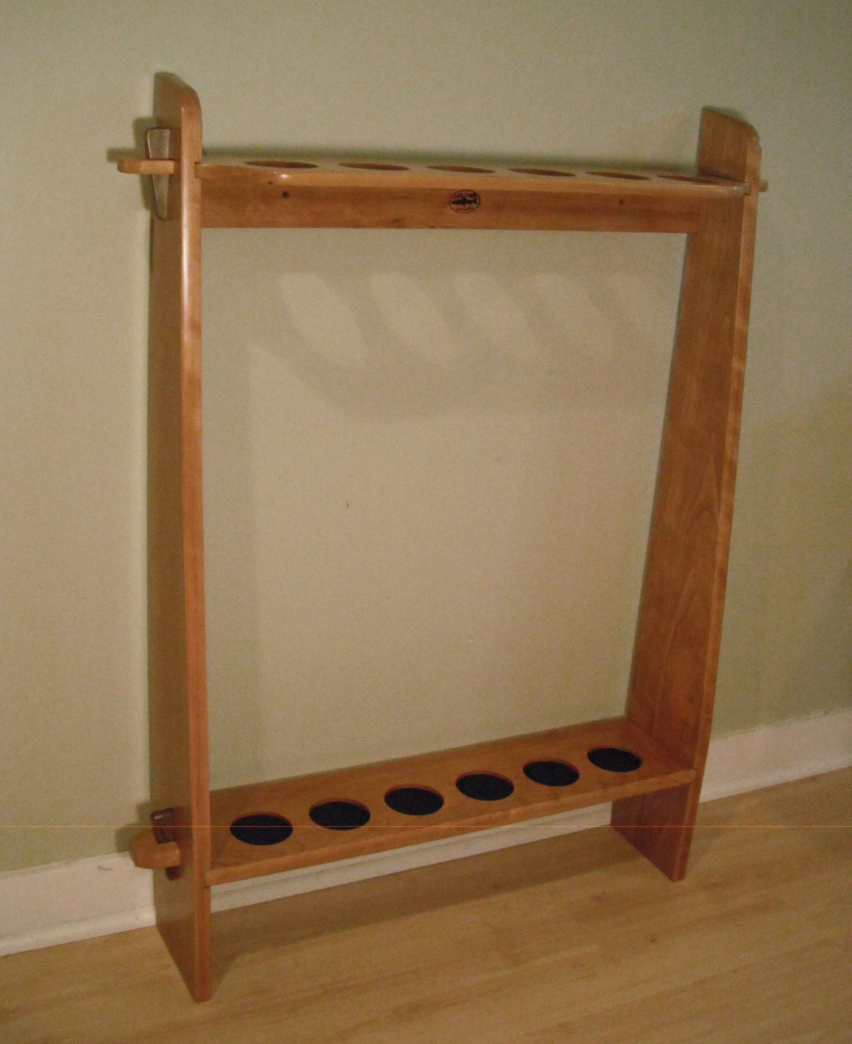 Fly rod tube storage rack 6 position for Fly fishing rod holder