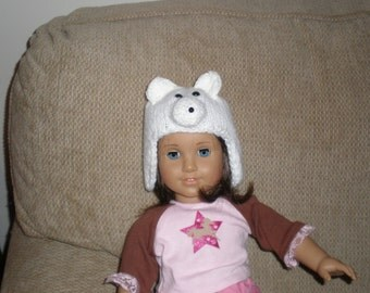 Doll's Earflap Hat (Polar Bear)