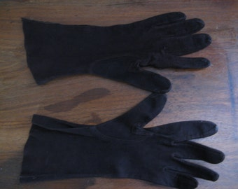Midcentury Brown Faux Suede Gloves / Smaller Size