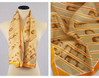 Vera Neumann Silk Scarf - Tan and Orange Abstract Striped  Scarf - Vintage 1970s Oblong Silk Vera Scarf