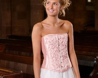 Pink silk corset with Swarovski crystals