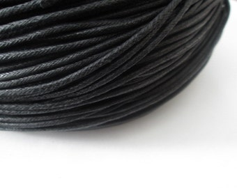 2 mm Black Cord, Black Waxed Cotton Cord, 10 Yards Cord, Great for Bracelet/Necklace