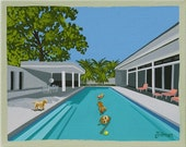Mid Century Modern Eames Retro Limited Edition Print from Original Painting Golden Retrievers Pool