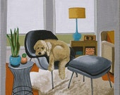 Mid Century Modern Eames Retro Limited Edition Print from Original Painting Golden Doodle Eames Chair