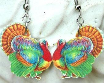turkey earrings colorful thanksgiving fall charm