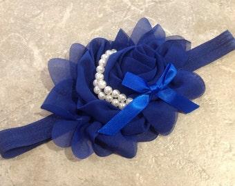 Baby headband, Royal blue rosette headband, headband, Newborn headband, Baby Girl headband, Infant headband, Toddler headband  -BL438
