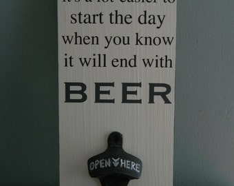 Beer Lovers Gift~ Wall Mount Beer Opener~ 5 x 12