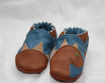 Blue and Brown Leather and Suede Dinosaur Shoes