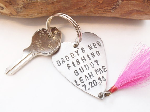 Personalized fishing lure keychain for new dad gift for daddy for Engraved fishing lures