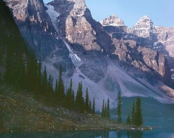 Print, Mountain Lake Landscape, Moraine Lake Afternoon, Banff National Park, Alberta Canada, Summer 1988