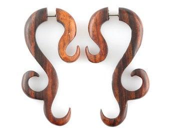 Mystere..Fake Gauges, Handmade, Wood Earrings, Cheaters, Organic, Plugs, Split, Tribal Style