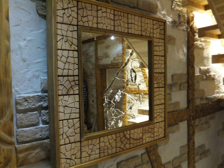 Einzigartige rustikale holz spiegel 32 x 32 x 3 for Spiegel zerbrochen