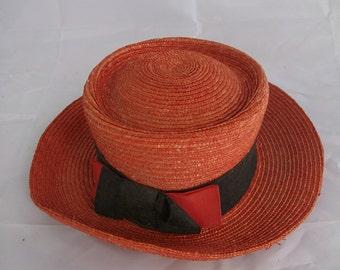 Vintage French Straw Hat - Lady's Summer Hat - Parisian Chapeau - Wedding Hat- Female Hat