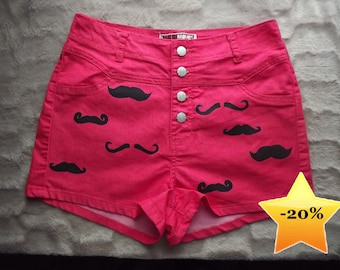 Pink mustache/moustache print studded shorts