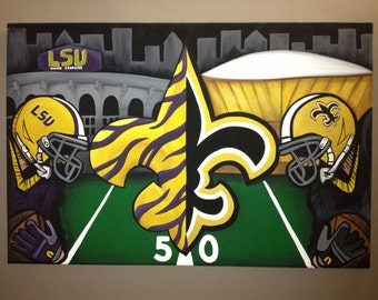 Saints and LSU combo painting on canvas FREE SHIPPING!.