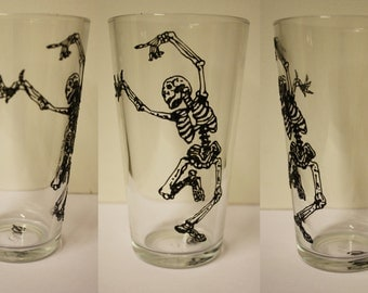 Skeleton Dancing Pint Glass