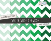 Green Chevron Digital Scrapbook Papers / White Wide Chevron Pattern / Printable Digital Paper / INSTANT DOWNLOAD / CU /  Green, Mint