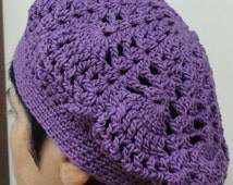 Women Crochet Hat  Beret Lacy Handmade 100% Cotton