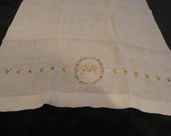 vintage tea towel, hand embroidered, linen