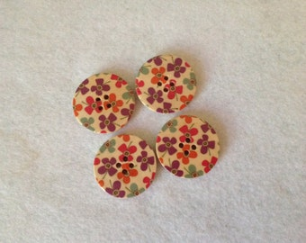 Set of 4 Wood Buttons with Decoupaged Tops