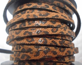 Pre Cuts, No Joins, 5mm Flat Leather, Glitter Leopard, Strap, Leather finding, jewelry supplies,