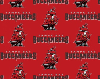 Tampa Bay Buccaneers 6488 Red & Black NFL Logo Cotton Fabric by Fabric Traditions! [Choose Your Cut Size]