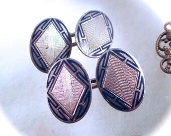 Vintage STERLING ENAMEL CUFFLINKS Art Deco Sterling Silver Blue Guilloche Enamel Cuff Links