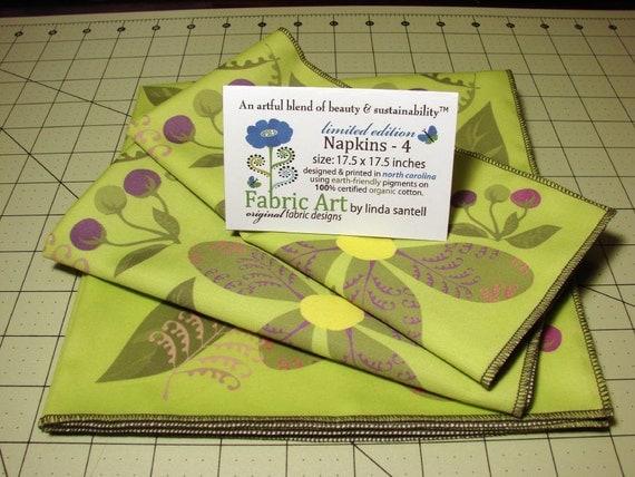 Organic Cotton Napkins (4) - Flowers, Ferns & Berries designed by linda santell