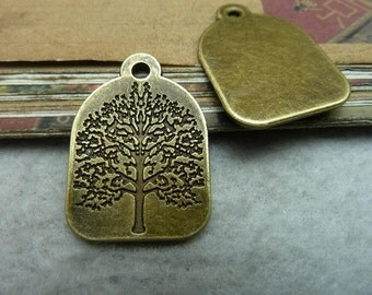 20PCS 22x31mm Antique Bronze Antique Silver Tree Charms Pendants Jewelry Findings AC7079