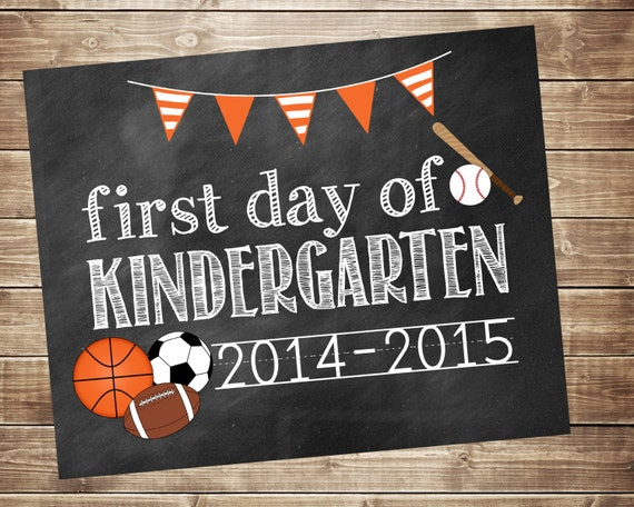First Day of School 2014-2015 Sports Photo Prop - Printable - Digital ...