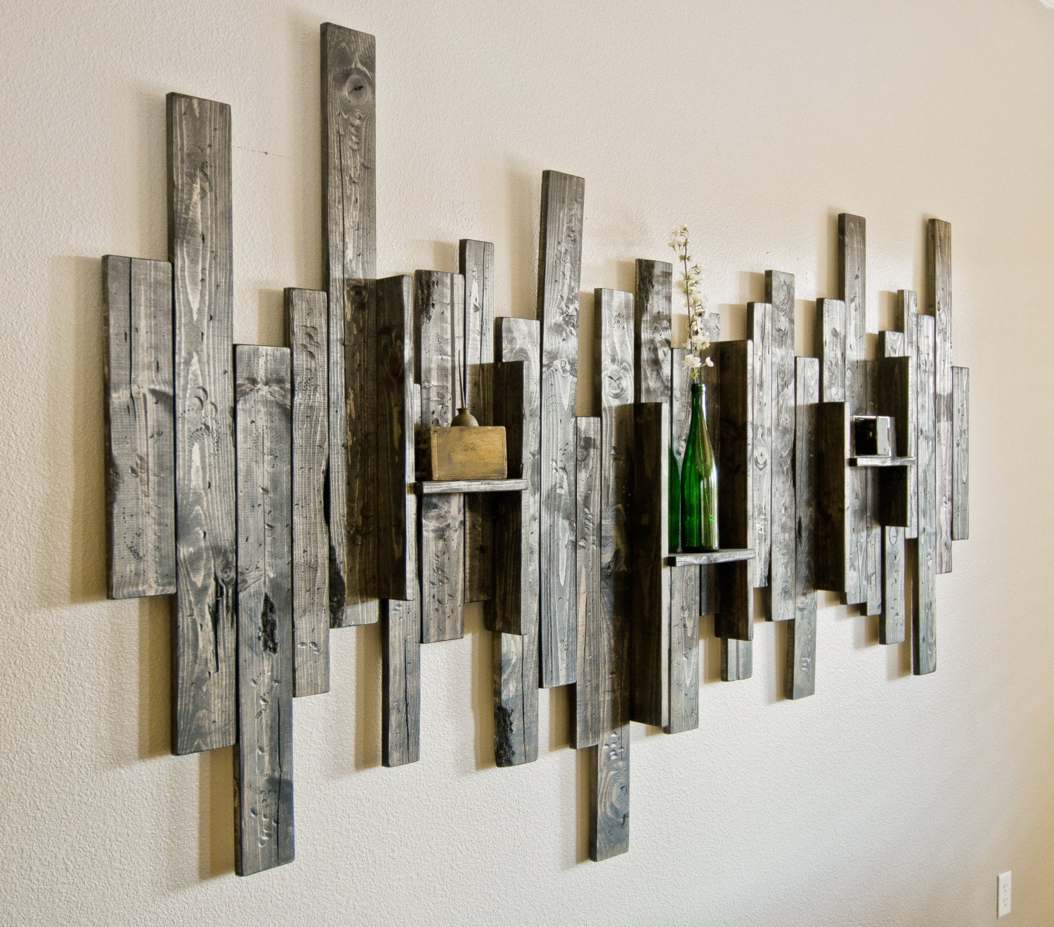 Unique wall decor shelves : Rustic display shelf decorative wall art