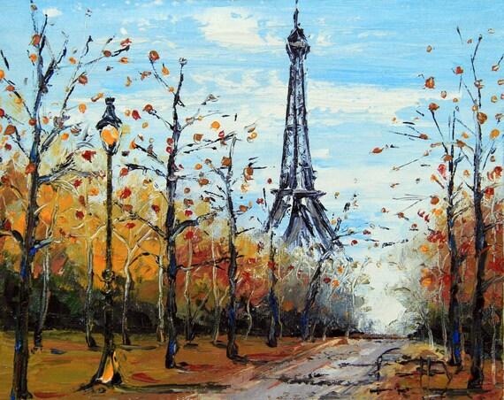 Paris Original Painting Eiffel Tower Paris in the Fall  Eiffel Tower Painting Landscape