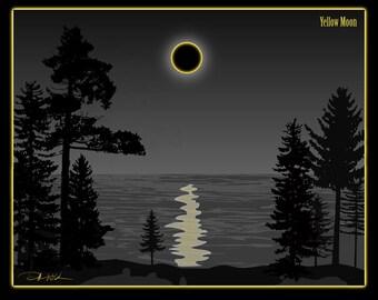"Black and Yellow Art Print, ""Yellow Moon"" Print, Enhance Your Decor"