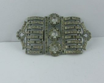 Antique rhinestone belt buckle. ART NOUVEAU rhinestones. Probably from the 20s. VINTAGE