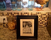 Block Print - Chicken w/ Buy Local on Vintage Cookbook Page, mounted on backer board - Buy 3 Get 1
