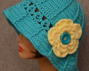 Womans Floppy Brim Hat in Blue